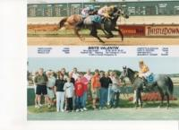 Top image is of two horses racing. Bottom image is a horse with a group of people.